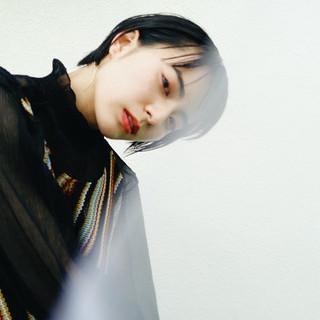 ナチュラル 黒髪ショート ショートボブ ショートカット ヘアスタイルや髪型の写真・画像