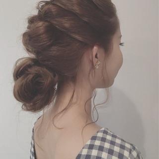 結婚式 お団子 ヘアアレンジ ショート ヘアスタイルや髪型の写真・画像