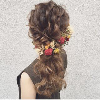 ヘアアレンジ 大人かわいい ガーリー セミロング ヘアスタイルや髪型の写真・画像
