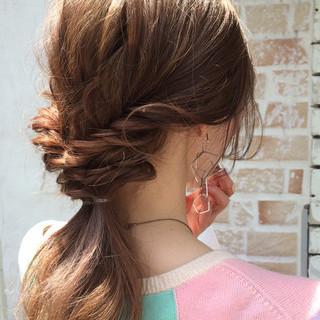 簡単ヘアアレンジ ショート 夏 パーマ ヘアスタイルや髪型の写真・画像