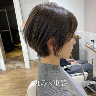 ショートヘア ナチュラル 小顔ショート ショートボブ ヘアスタイルや髪型の写真・画像