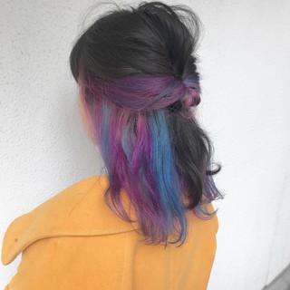 ブリーチ ハイトーン ダブルカラー インナーカラー ヘアスタイルや髪型の写真・画像