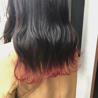 ピンク ポイントカラー ガーリー ベリーピンク ヘアスタイルや髪型の写真・画像