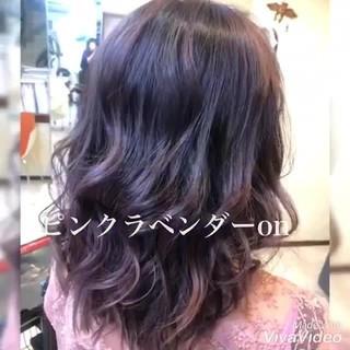 ミディアム バレイヤージュ ガーリー ラベンダーピンク ヘアスタイルや髪型の写真・画像