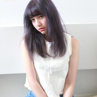 パープル ストリート セミロング かっこいい ヘアスタイルや髪型の写真・画像 ヘアスタイルや髪型の写真・画像