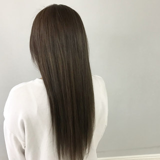 縮毛矯正 ロング パーマ ナチュラル ヘアスタイルや髪型の写真・画像