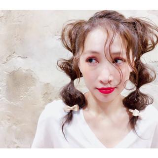 波ウェーブ ヘアアレンジ 簡単ヘアアレンジ ツインテール ヘアスタイルや髪型の写真・画像 ヘアスタイルや髪型の写真・画像