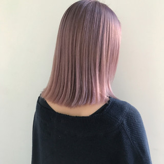 ナチュラル ボブ アンニュイほつれヘア ピンクヘア ヘアスタイルや髪型の写真・画像