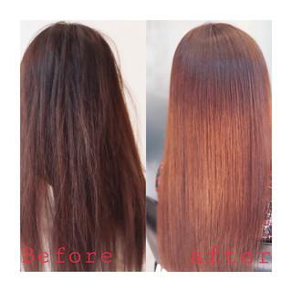 ロング 縮毛矯正 デート ナチュラル ヘアスタイルや髪型の写真・画像 ヘアスタイルや髪型の写真・画像