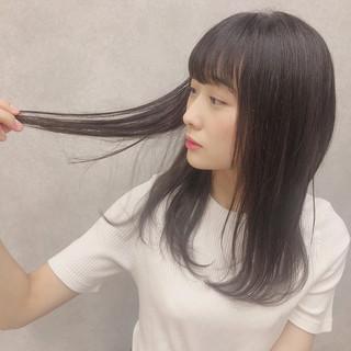 簡単 デート 前髪あり ナチュラル ヘアスタイルや髪型の写真・画像