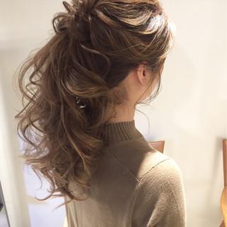 ポニーテール ガーリー ヘアアレンジ 編み込み ヘアスタイルや髪型の写真・画像