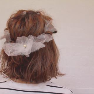 ヘアアレンジ 簡単ヘアアレンジ ボブ ハーフアップ ヘアスタイルや髪型の写真・画像