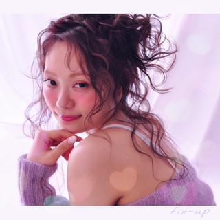 セミロング グラデーションカラー 外国人風 ヘアアレンジ ヘアスタイルや髪型の写真・画像