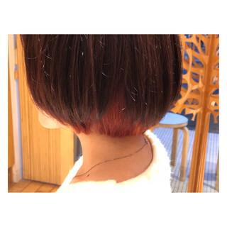 インナーカラー ショートボブ ショート ダブルカラー ヘアスタイルや髪型の写真・画像