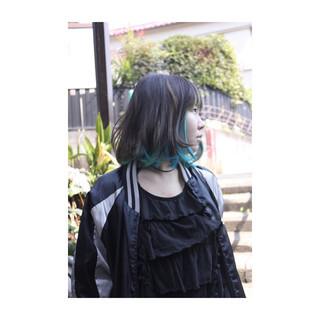 モード ダブルカラー ボブ 個性的 ヘアスタイルや髪型の写真・画像