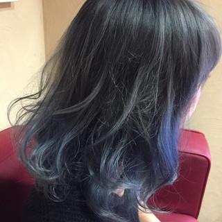 モード ブルー ネイビー ブルージュ ヘアスタイルや髪型の写真・画像