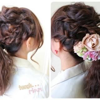 波ウェーブ 結婚式 ゆるふわ ヘアアレンジ ヘアスタイルや髪型の写真・画像