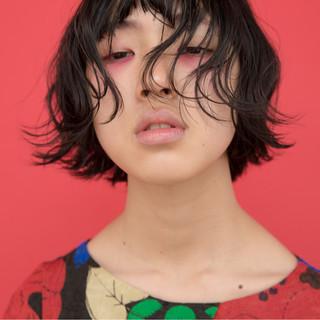 ナチュラル モード 黒髪 パーマ ヘアスタイルや髪型の写真・画像