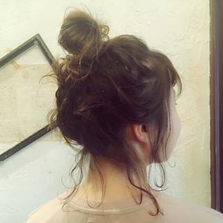 お団子 ゆるふわ ガーリー ショート ヘアスタイルや髪型の写真・画像