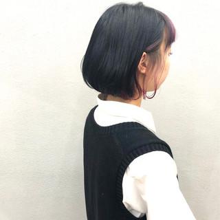 簡単スタイリング ボブ ナチュラル ピンク ヘアスタイルや髪型の写真・画像