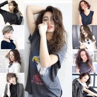 ウェーブ パンク ストリート セミロング ヘアスタイルや髪型の写真・画像