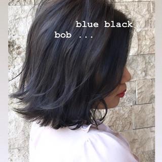 暗髪 モテボブ グレージュ ブルージュ ヘアスタイルや髪型の写真・画像
