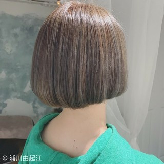 グラデーションカラー 切りっぱなしボブ ボブ デート ヘアスタイルや髪型の写真・画像