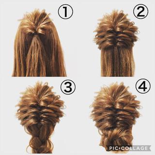 セミロング ヘアアレンジ 三つ編み くるりんぱ ヘアスタイルや髪型の写真・画像