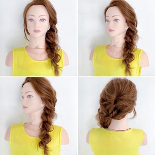 簡単ヘアアレンジ くるりんぱ フェミニン ヘアアレンジ ヘアスタイルや髪型の写真・画像