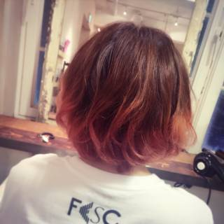 ピンク ボブ ストリート グラデーションカラー ヘアスタイルや髪型の写真・画像