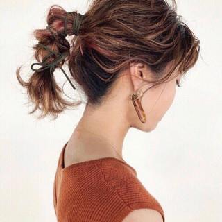 簡単ヘアアレンジ ヘアアレンジ ゆるナチュラル 切りっぱなしボブ ヘアスタイルや髪型の写真・画像
