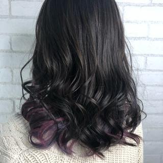 アッシュグレー セミロング フェミニン 春ヘア ヘアスタイルや髪型の写真・画像