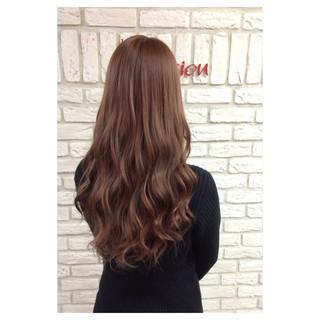 ベージュ ピンク セミロング 大人かわいい ヘアスタイルや髪型の写真・画像