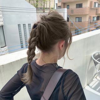 ヘアアレンジ ミディアム ハイライト デート ヘアスタイルや髪型の写真・画像