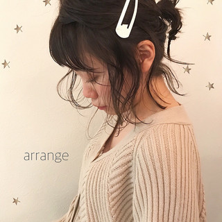 ヘアアレンジ アンニュイ ゆるふわ ミディアム ヘアスタイルや髪型の写真・画像