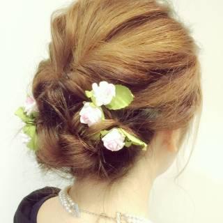 ミディアム 簡単ヘアアレンジ 結婚式 くるりんぱ ヘアスタイルや髪型の写真・画像 ヘアスタイルや髪型の写真・画像