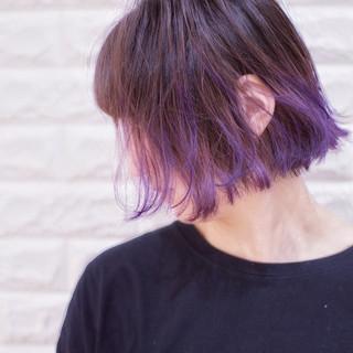ボブ 裾カラー 切りっぱなしボブ カラーバター ヘアスタイルや髪型の写真・画像