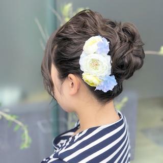 ロング 結婚式 ヘアアレンジ フェミニン ヘアスタイルや髪型の写真・画像