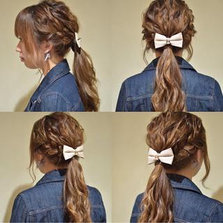ポニーテール 編み込み エレガント ローポニーテール ヘアスタイルや髪型の写真・画像