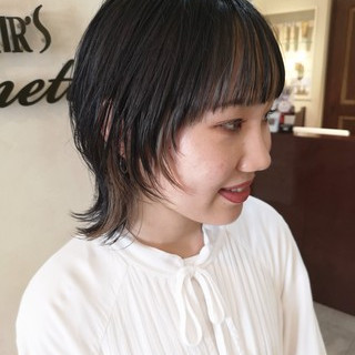 マッシュウルフ ストリート ナチュラルウルフ インナーカラー ヘアスタイルや髪型の写真・画像