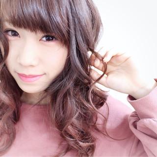 ピンク ロング ガーリー ピンクブラウン ヘアスタイルや髪型の写真・画像