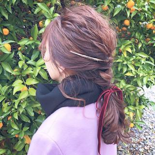 セミロング 簡単ヘアアレンジ 結婚式ヘアアレンジ ヘアアレンジ ヘアスタイルや髪型の写真・画像