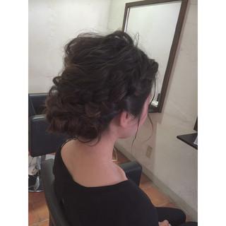 まとめ髪 お団子 編み込み ロング ヘアスタイルや髪型の写真・画像