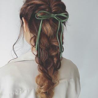 くるりんぱ ロング ヘアアレンジ 簡単ヘアアレンジ ヘアスタイルや髪型の写真・画像