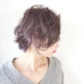モード ラベンダーアッシュ 透明感 ショート ヘアスタイルや髪型の写真・画像