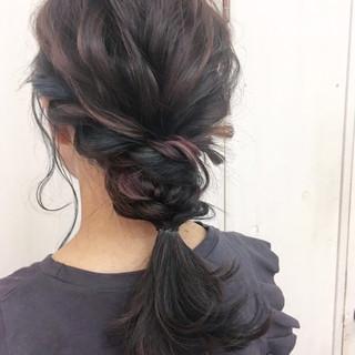 ヘアアレンジ ストリート セミロング ブルー ヘアスタイルや髪型の写真・画像