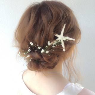 愛され フェミニン セミロング 結婚式 ヘアスタイルや髪型の写真・画像
