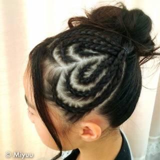 ロング コーンロウ モード ヘアアレンジ ヘアスタイルや髪型の写真・画像