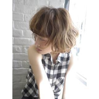 外ハネ ハイライト ゆるふわ 春 ヘアスタイルや髪型の写真・画像