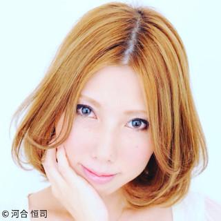大人かわいい グラデーションカラー フェミニン ボブ ヘアスタイルや髪型の写真・画像